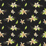 Seamless pattern with watercolor vanilla flowers. Hand painted isolated on a dark background Stock Photography