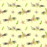 Seamless pattern with watercolor vanilla flowers. Hand painted isolated on a yellow background Royalty Free Stock Images