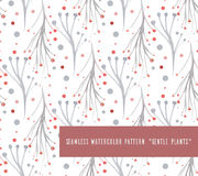 Seamless pattern with watercolor vector gentle plants Stock Image