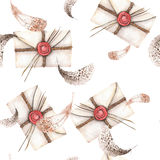 Seamless pattern with watercolor vintage mail envelopes and feathers Stock Photos