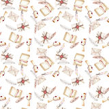 Seamless pattern with watercolor vintage mail envelopes, feathers, open notebook and scroll of parchment. Hand drawn on a white background Royalty Free Stock Photography