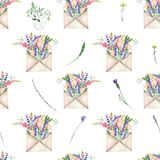 Seamless pattern with watercolor vintage mail envelopes and flowers Royalty Free Stock Image
