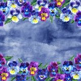 Seamless pattern with Watercolor Violet Flowers Pansy and Leaves on blue background. Botanical watercolor illustration Royalty Free Stock Photo