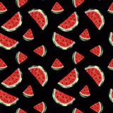 Seamless pattern with watercolor watermelon stock illustration