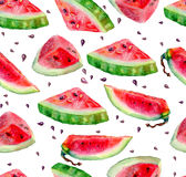 Seamless pattern of watercolor watermelon. Royalty Free Stock Images