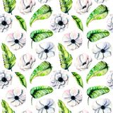 Seamless pattern with watercolor white anemones and green exotic leaves. Hand drawn on a white background Stock Photo