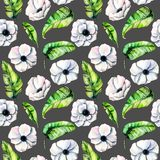 Seamless pattern with watercolor white anemones and green exotic leaves. Hand drawn on a dark background Stock Photo