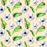 Seamless pattern with watercolor white anemones and green exotic leaves. Hand drawn on a pink background Stock Images