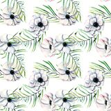 Seamless pattern with watercolor white anemones and green palm leaves. Hand drawn on a white background Stock Photos