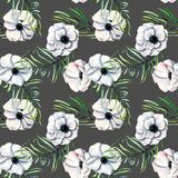 Seamless pattern with watercolor white anemones and green palm leaves. Hand drawn on a dark background Stock Images
