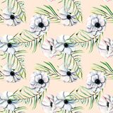 Seamless pattern with watercolor white anemones and green palm leaves. Hand drawn on a pink background Stock Images