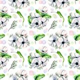 Seamless pattern with watercolor white anemones and green tropic leaves. Hand drawn on a white background Stock Photo