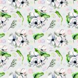 Seamless pattern with watercolor white anemones and green tropic leaves. Hand drawn on a grey background Stock Photos