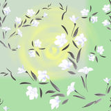Seamless pattern watercolor white flowers on a green background stock image