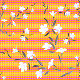 Seamless pattern watercolor white flowers on a orange background stock photos