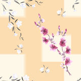Seamless pattern watercolor of white and pink flowers on a beige background with geometric yellow tracery stock photos