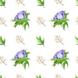 Seamless pattern with watercolor white purple rose flowers. Spring floral design for wedding invitation royalty free illustration
