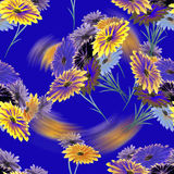 Seamless pattern watercolor wild flowers with glare on the blue background stock photography
