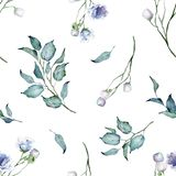 Seamless Pattern. Watercolor Wild Plants and Flowers. Bouquet. Blue Flowers. Floral illustration. Leaves and buds. Botanic composition. Great for floral vector illustration