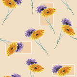 Seamless pattern watercolor wild violet and yellow flowers on the beige background Stock Image