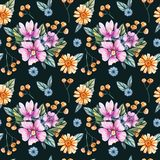 Seamless pattern with watercolor wildflowers. royalty free illustration