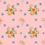 Seamless pattern with watercolor wildflowers on a orange background. Delicate pastel pattern with yellow daisies royalty free illustration