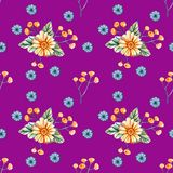 Seamless pattern with watercolor wildflowers on a purple background royalty free illustration
