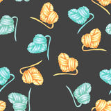Seamless pattern with watercolor yellow and blue heart ball of yarn Royalty Free Stock Photos