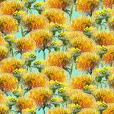 Seamless pattern of watercolor yellow dandelions royalty free illustration