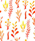 Seamless pattern with watercolor yellow flowers and leaves Stock Photos