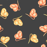 Seamless pattern with watercolor yellow and red heart ball of yarn Royalty Free Stock Image