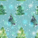 Seamless pattern with watercolour Christmas trees Royalty Free Stock Image