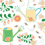 Seamless pattern with watering can, meadow flowers and bees. Summer garden wallpaper for package design or cover. Colorfull backgraound made on cute cartoon stock illustration