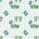 Seamless pattern with watering cans pots and flowers on striped Stock Image