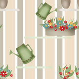 Seamless pattern with watering cans pots and flowers on striped Stock Photography