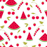 Seamless pattern watermelon cherry raspberry currant Stock Image