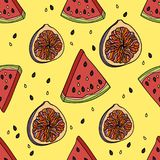 Seamless pattern with watermelon and figs. Seamless pattern with watermelon and figs on yellow background. Vector illustration Royalty Free Stock Photography