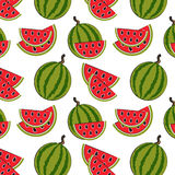 Seamless pattern with watermelon on the green background Royalty Free Stock Images