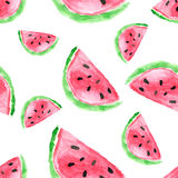 Seamless pattern with watermelon. Hand drawn watercolor watermel Royalty Free Stock Images