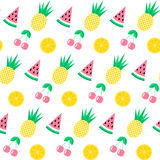 Seamless pattern with watermelon, pineapple, cherry and orange on white background. Cute  background. Bright summer fruits i. Llustration. Fruit mix design for Stock Images