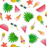 Seamless pattern. Watermelon, pineapple, ice cream, glasses, starfish and palm leaves. Vector seamless pattern. Watermelon, pineapple, ice cream, glasses Stock Photos