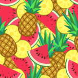 Seamless pattern with watermelon and pineapple. Stock Image