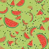 Seamless pattern with watermelon slices. Cute seamless pattern with watermelon slices stock illustration