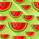 Seamless pattern with watermelon slices in flat style. Background made without clipping mask. Easy to use for backdrop Stock Photos