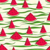 Seamless pattern of watermelon slices Stock Images