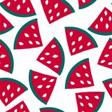 Seamless pattern with watermelon - summer fruit. Tropical print with sweet food vector illustration