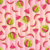 Seamless Pattern with Watermelons Stock Photo