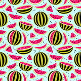 Seamless pattern with watermelons on blue background vector illustration