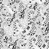 Seamless pattern with waves for adult anti stress colouring page. Pattern for coloring book. Illustration in zentangle style. Monochrome variant. Ethnic Stock Photo