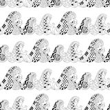 Seamless pattern with waves for adult anti stress colouring page. Pattern for coloring book. Illustration in zentangle style. Monochrome variant. Ethnic stock illustration
